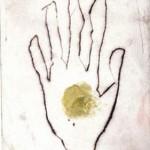 afbeelding van de hand, ets, 1/7