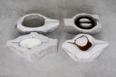 Materie, graniet met honing, water, melk, wijn, 45 x 70 x 10, 2007